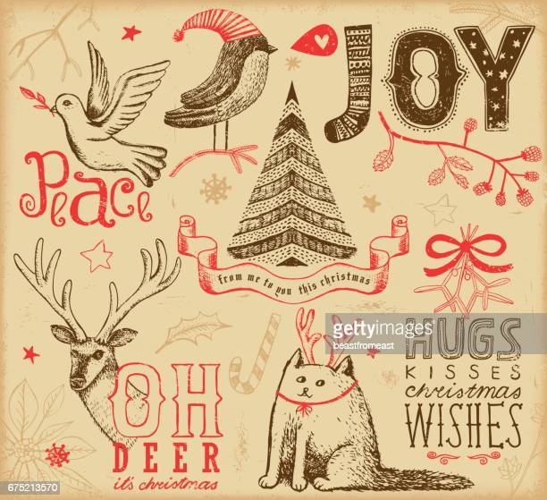 hand drawn christmas elements - peace stock illustrations, clip art, cartoons, & icons