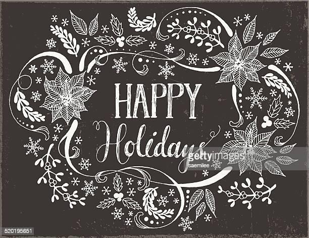 ilustraciones, imágenes clip art, dibujos animados e iconos de stock de christmas frame dibujados a mano - flor de pascua