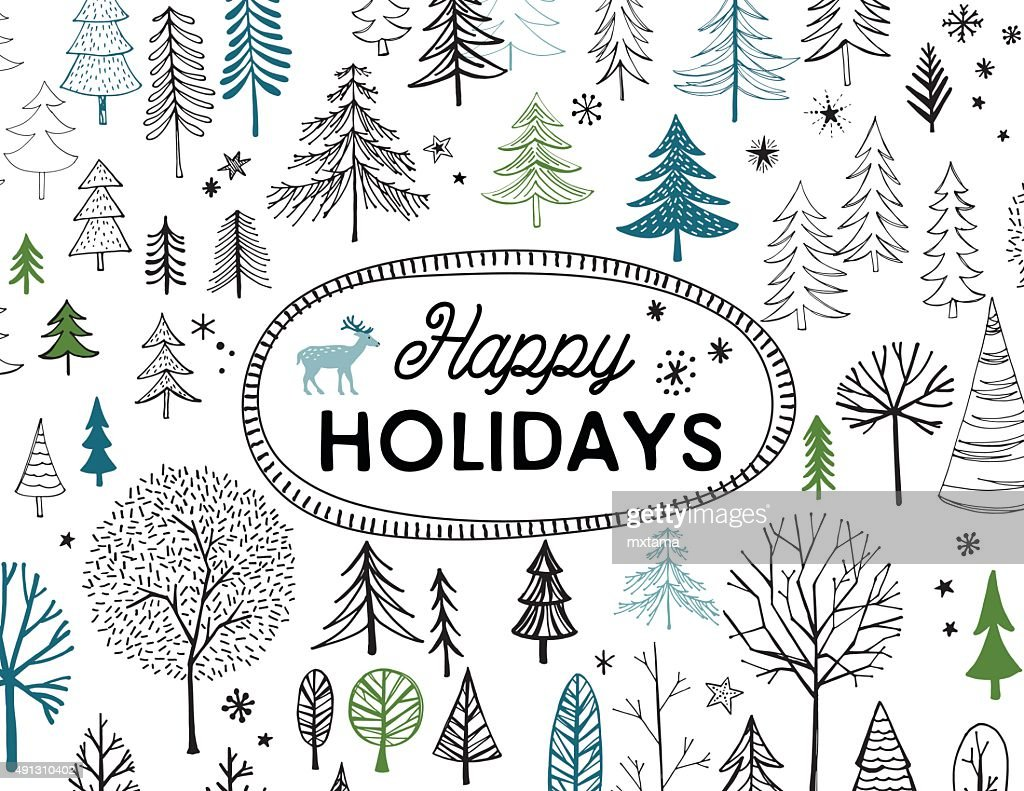 Hand Drawn Christmas, Holiday Trees Card