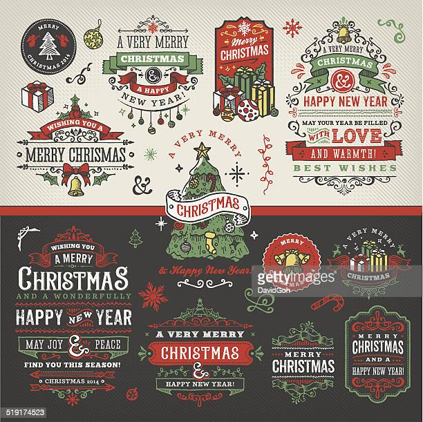 Hand Drawn Christmas Labels & Badges