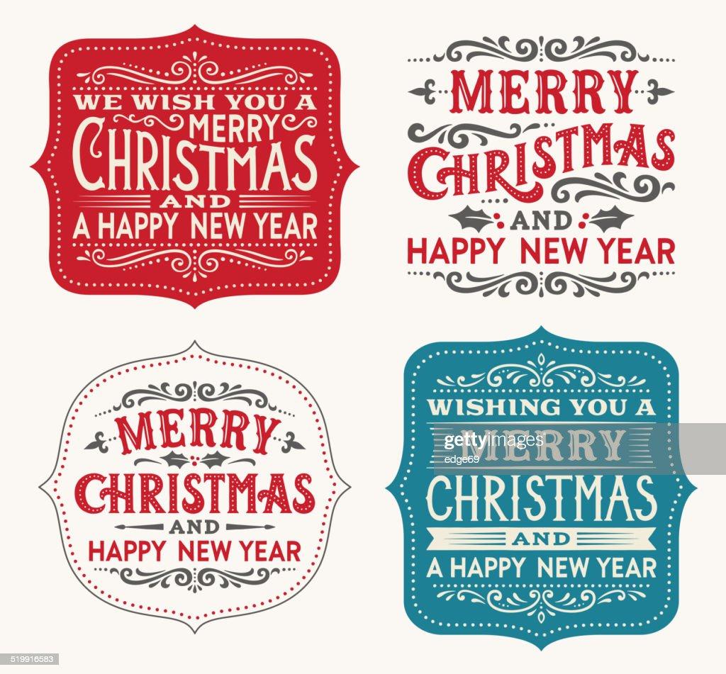 Hand Drawn Christmas Labels : stock illustration