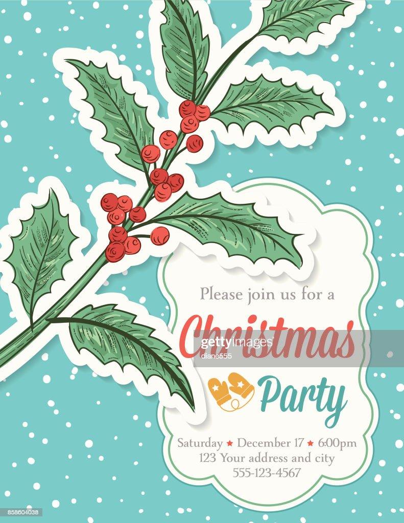 Handgezeichnete Christmas Party Vorlage mit Holly und Schneeflocken : Stock-Illustration