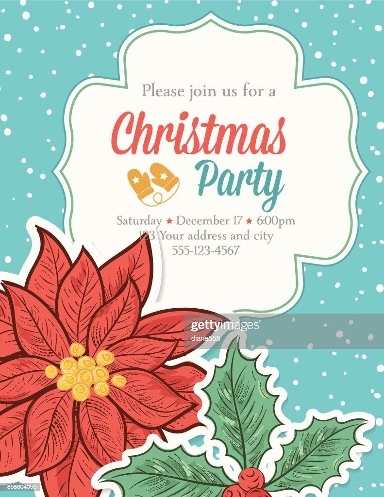 Handgezeichnete Christmas Party Vorlage mit Weihnachtsstern und Schneeflocken : Stock-Illustration