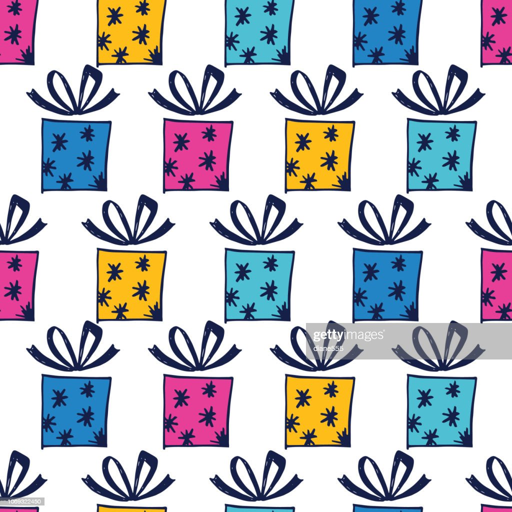 Hand Drawn Christmas Presents Background Pattern Vector Art | Getty ...