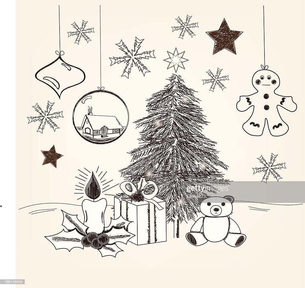 Hand Drawn Weihnachtenszene Vektorgrafik | Getty Images
