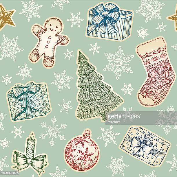 Hand Drawn Christmas Seamless Pattern