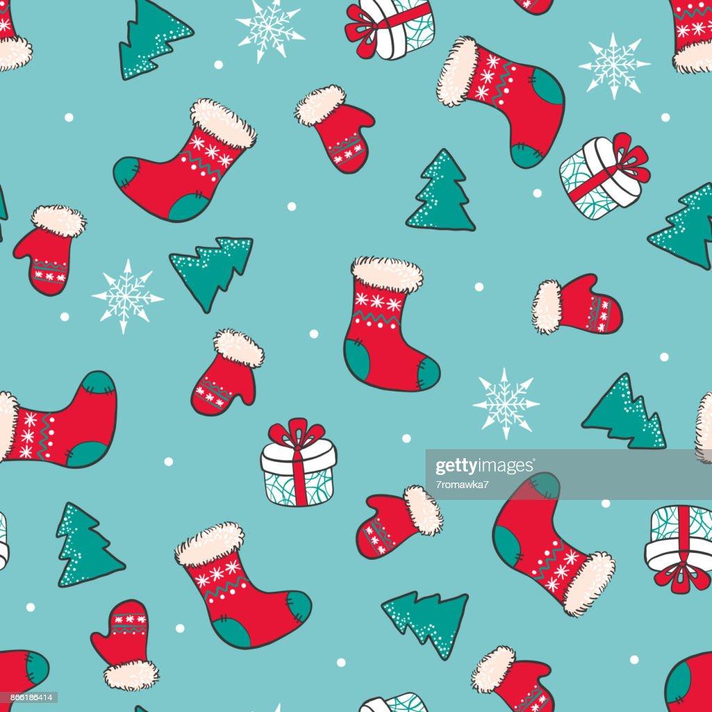 Die Hand Gezeichnete Weihnachten Musterdesign Mit Weihnachten Socken ...