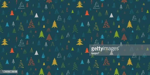 hand drawn christmas tree vector seamless pattern - christmas paper stock illustrations