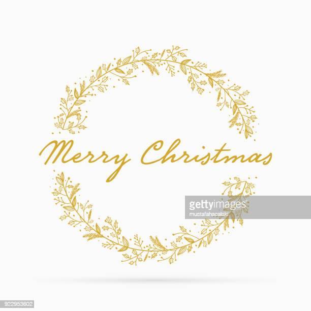hand drawn christmas wreath - laurel wreath stock illustrations
