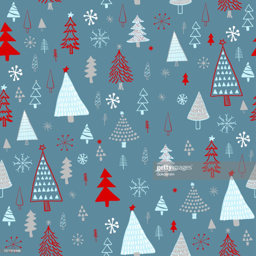 Christmas Tree Pattern.Hand Drawn Christmasholiday Trees Pattern Blue Gray Red