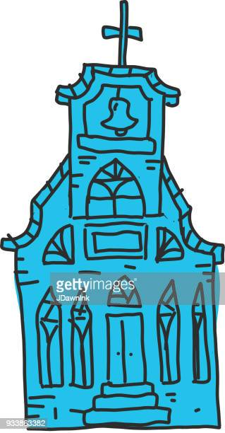 hand drawn church with steeple - steeple stock illustrations, clip art, cartoons, & icons