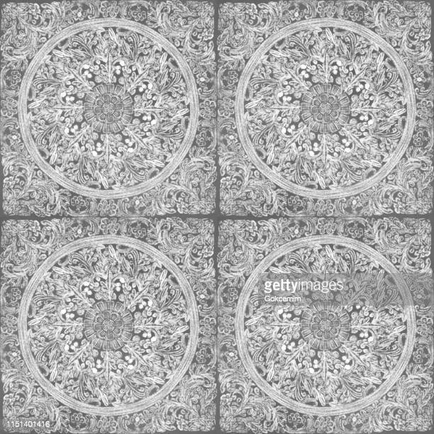 hand drawn circle floral seamless pattern with white chalk on gray background. floral  medallion pattern, abstract mandala pattern flowers and paisley doodle , henna decorative mandala tile, ethnic flower decoration ornament, floral indian design. - porcelain stock illustrations