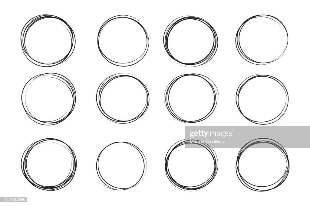 Hand drawn circle sketch set : stock illustration
