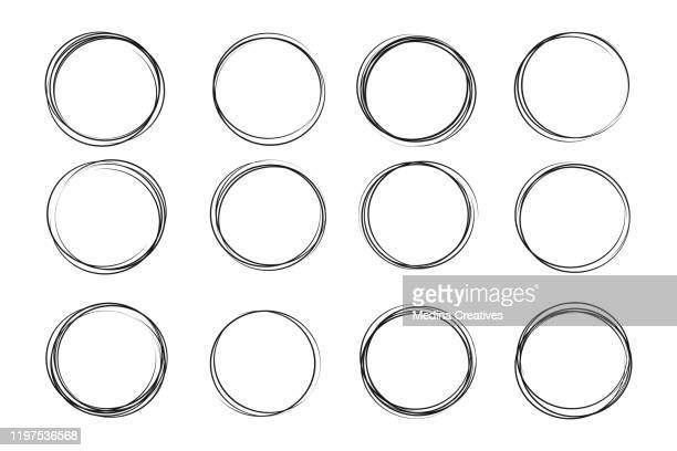 hand drawn circle sketch set - circle stock illustrations