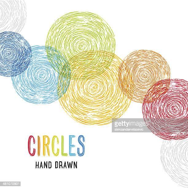 ilustrações, clipart, desenhos animados e ícones de mão desenhada fundo de círculos - desenho de lápis