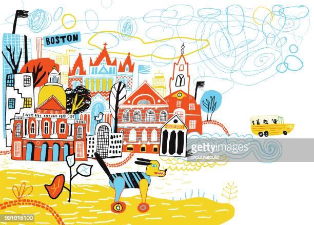 hand drawn city boston usa - boston massachusetts stock illustrations