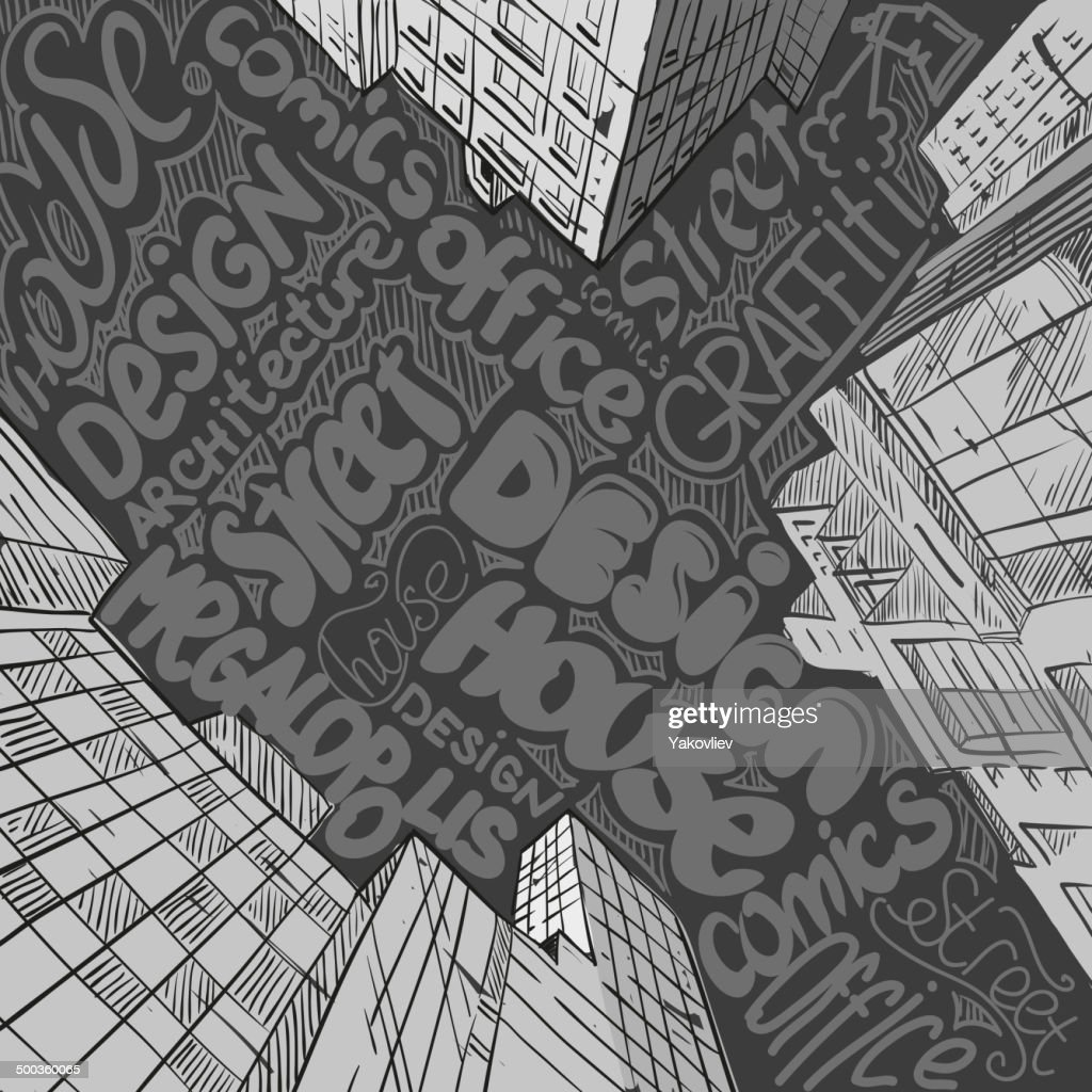 Hand drawn cityscape, vector illustration