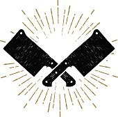 Hand drawn cleaver knives vector illustration.