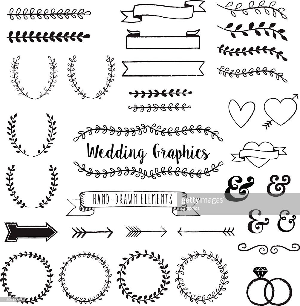 Hand Drawn Clip Wedding Art