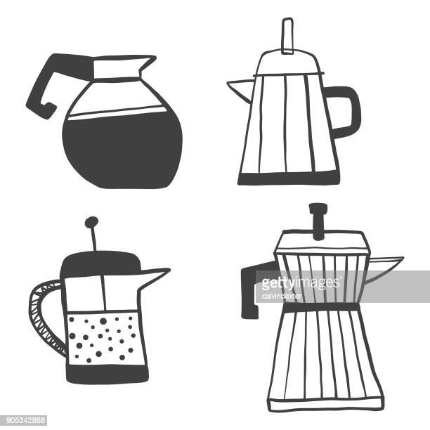 hand drawn coffee makers collection - breakfast cartoon stock illustrations