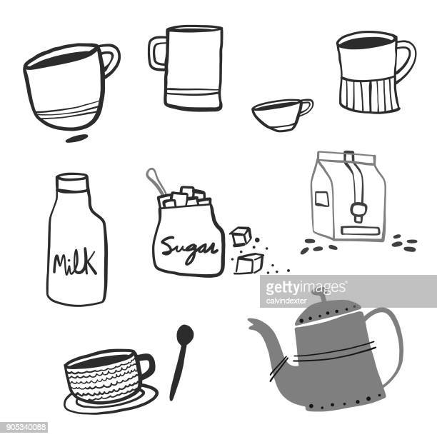 hand drawn coffee objects - sugar food stock illustrations, clip art, cartoons, & icons