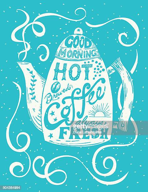 Hand Drawn Coffee Pot With Lettering