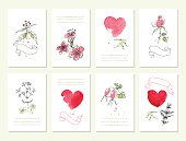 Hand drawn collection of  floral invitations.  Wedding,  birthday, Valentine's day.