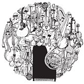 Hand drawn Collection of Music Instruments in circle.