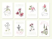 Hand drawn collection of romantic floral invitations.  Wedding,  birthday,  Isolated.