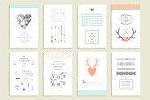 Hand drawn collection of romantic invitations.