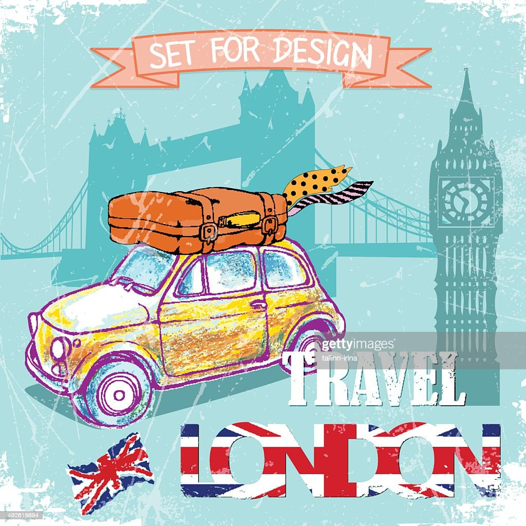 hand drawn , color pencil funny yellow car, travel to London.