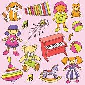 Hand drawn colorful doodle girls toys set. Vector illustration.