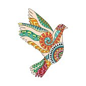 Hand drawn colorful flying dove in ornamental style.