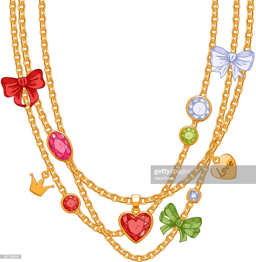 Hand drawn colorful necklace with golden chains, gemstones and bows.