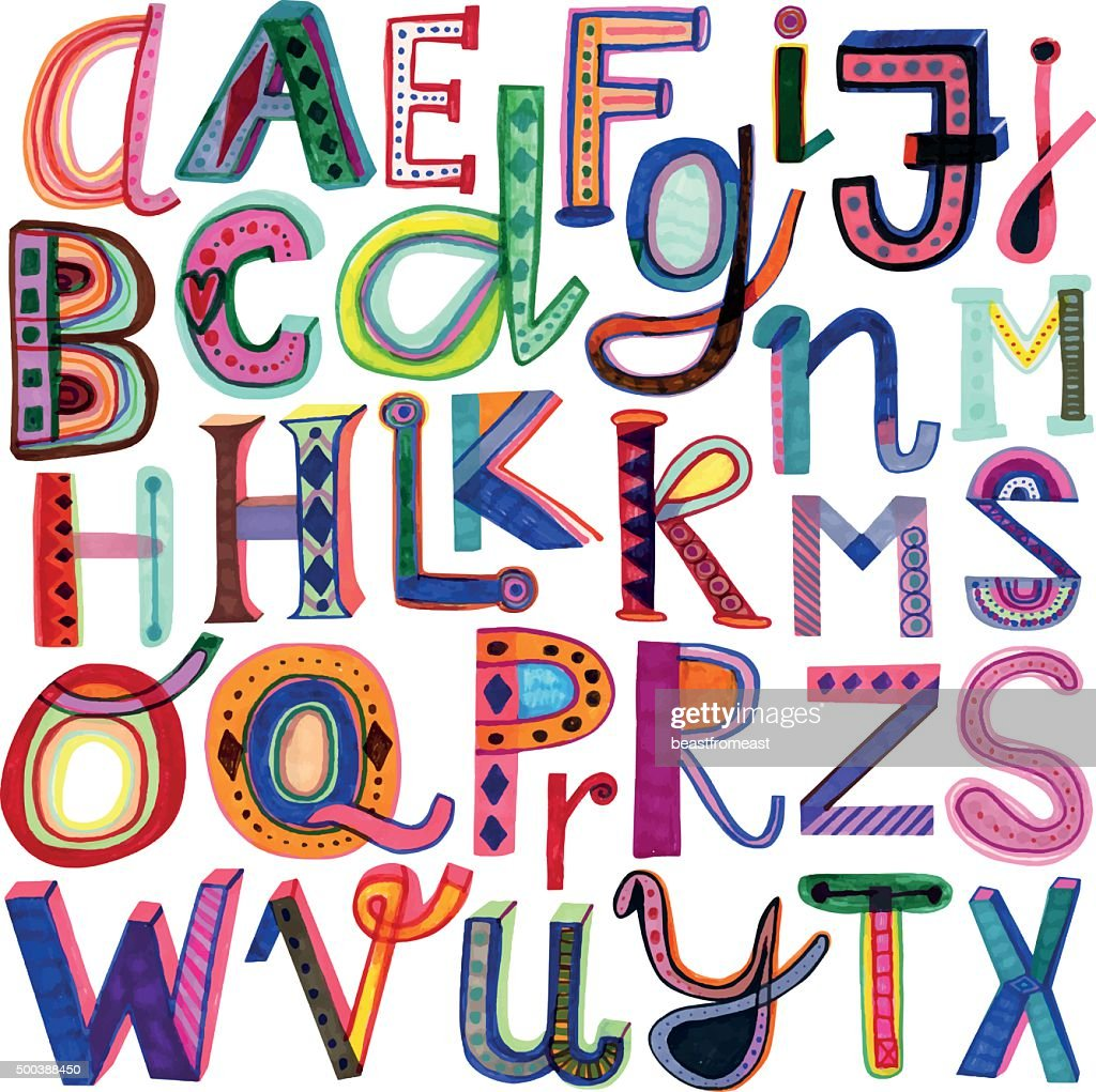 Hand drawn colourful alphabet
