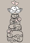Hand Drawn Contemporary Wedding Cake and Love Birds
