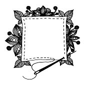 Hand drawn copy space textile patch with seam, sewing needle, flowers, berries and leaves. Black logo or label vector illustration on white background for creative occupation products