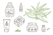 Hand drawn Cosmetic bottles and packaging. Aloe cosmetics and plant.