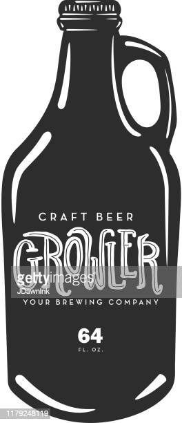 hand drawn craft beer growler glass jug with sample text label - artisanal food and drink stock illustrations, clip art, cartoons, & icons