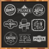 Hand drawn craft beer labels.