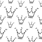 Hand Drawn Crown Vector Seamless Pattern