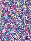 Hand Drawn Curly Colorful Background Pattern