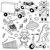 Hand drawn cute doodle toys set 3. Vector illustration.