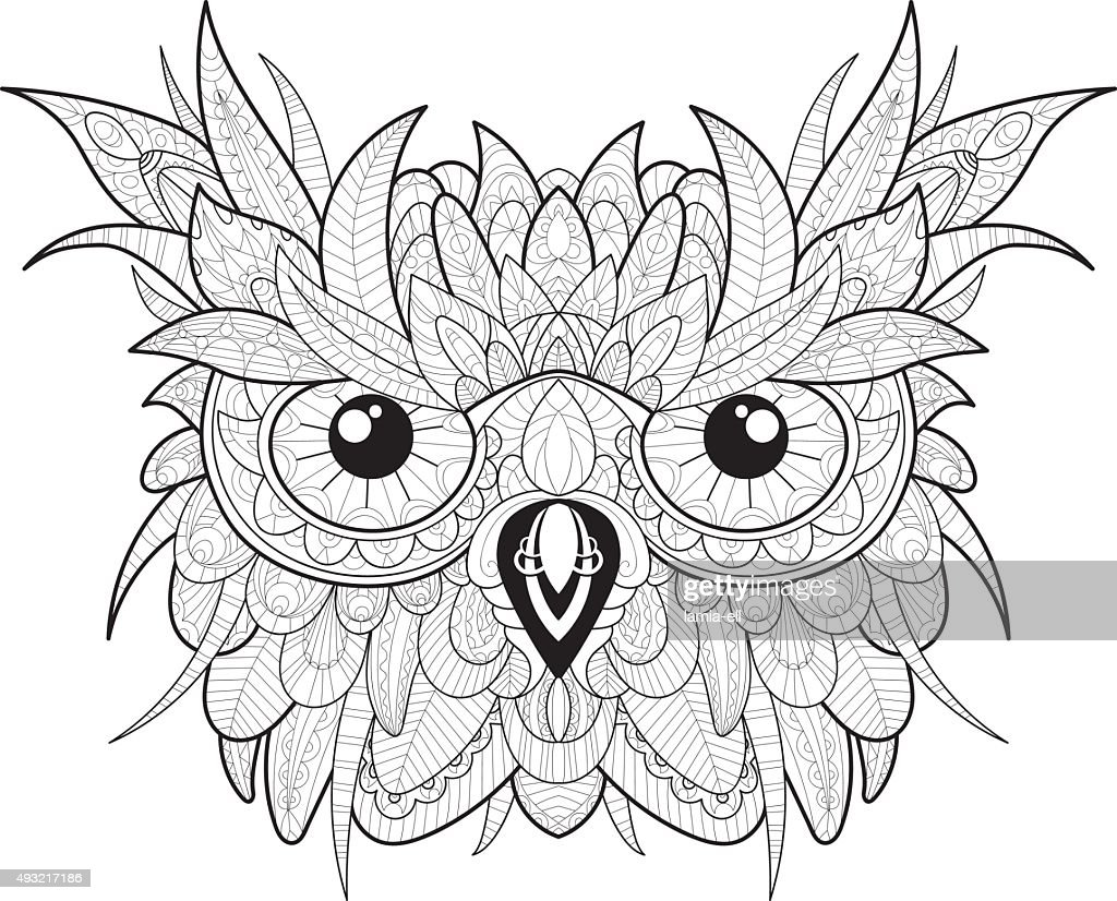 Hand drawn cute owl portrait for adult coloring page