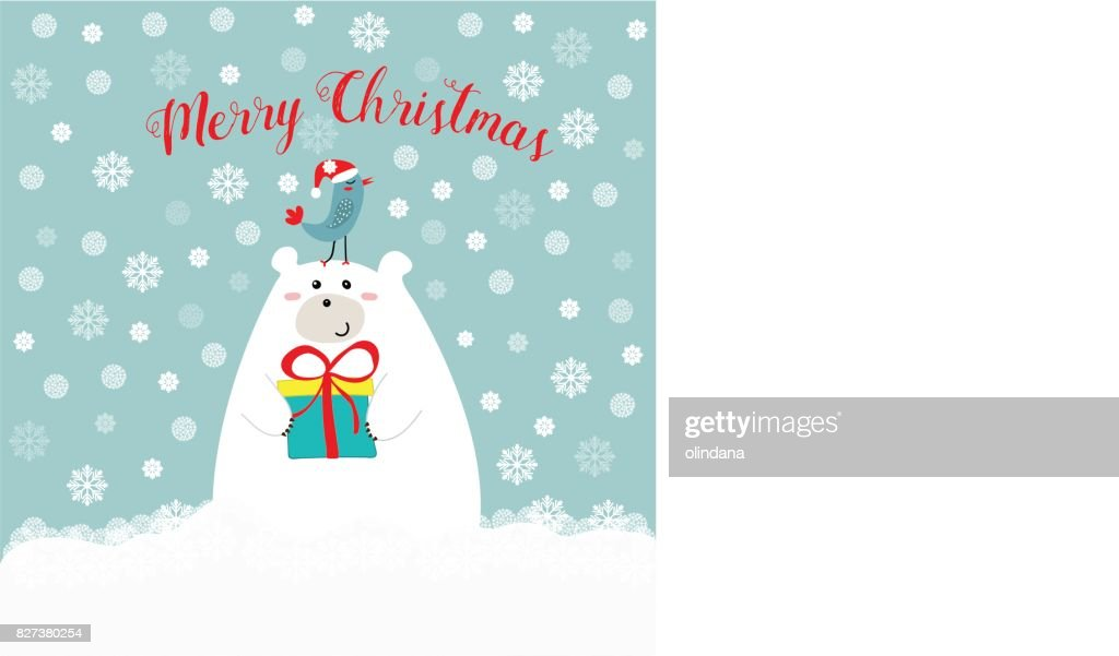 Hand drawn cute polar bear holding gift box kawaii bird in santa clause hat on his head merry christmas text lettering red, blue white snowy background, greeting card