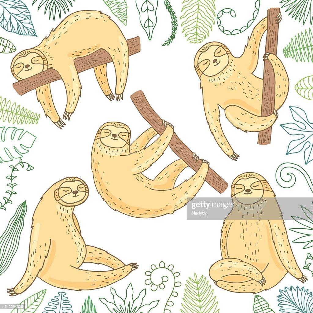 Hand drawn cute sloth set