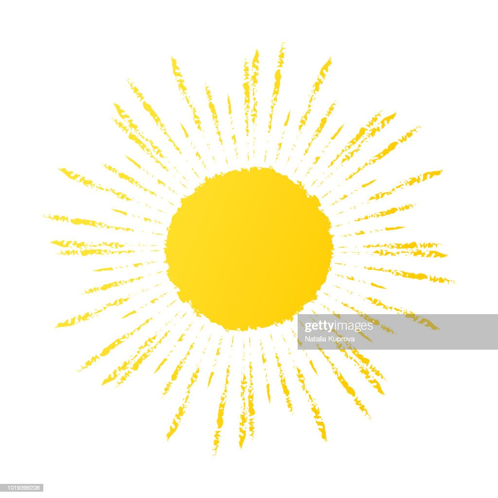 Hand drawn cute sun icon. Vector yellow sunshine graphic
