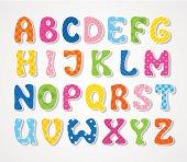 Hand drawn cute textured sticker alphabet