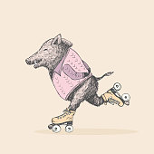Hand drawn cute wild boar on roller skates, vector illustration. T shirts and Card design.