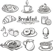 Hand drawn decorative icons breakfast .
